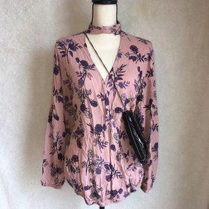 Torrid floral choker blouse
